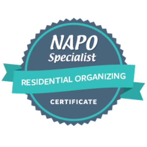 Just earned: NAPO Specialist Certificate in Residential Organizing